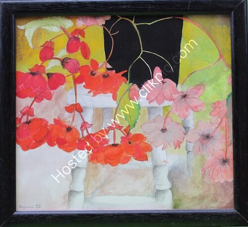 framed painting, red begonias, gouache