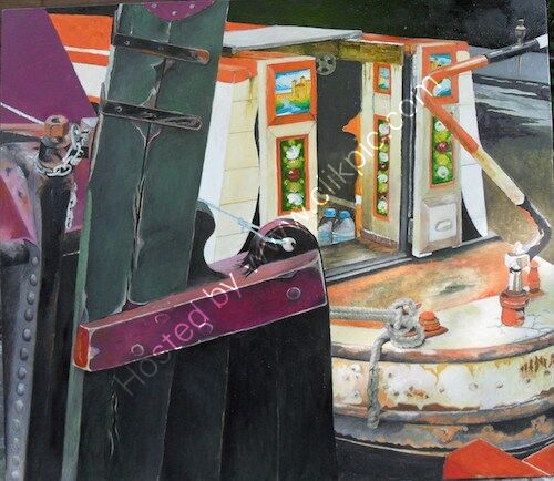 narrowboats, oil painting, Little Venice