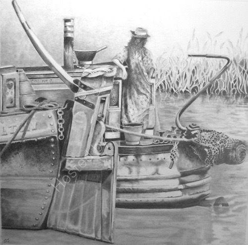 historic narrowboats, bargewoman, pencil drawing.