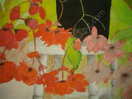 red begonias, gouache painting, still-life.