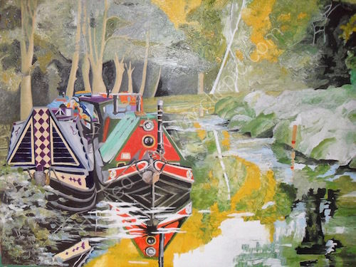 narrowboat rally, oil painting on board, basingstoke canal,