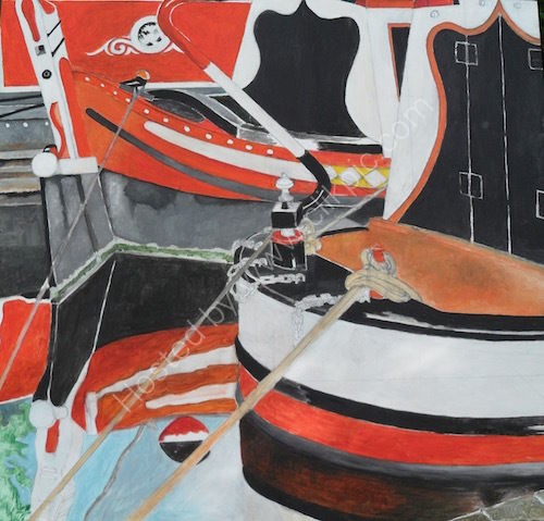 narrowboats, oil painting, Little Venice.