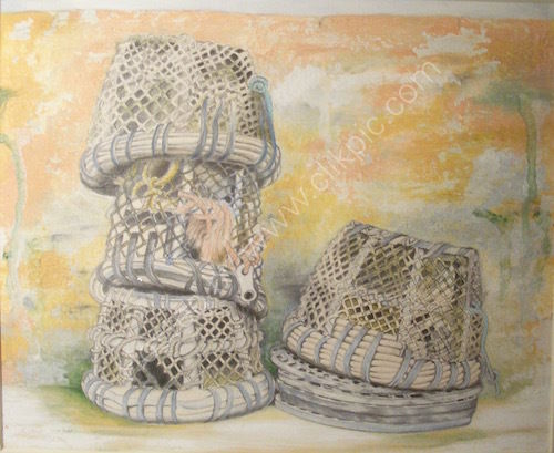 Cornish crab-pots, coloured pencil, graphite and gouache drawing.