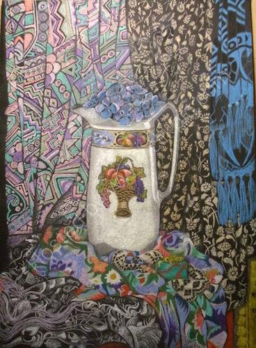 pitcher jug, pastel painting, still-life.