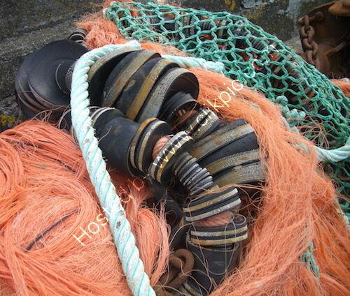 orange nets and floats, Cornwall