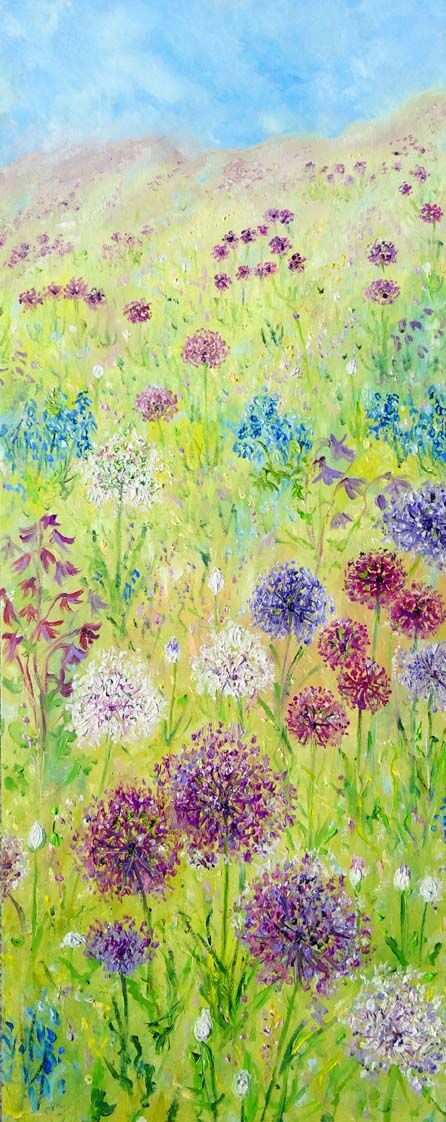 """ALLIUMS"" OIL ON WOOD PANEL"