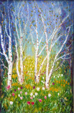 SILVER BIRCH WITH TULIPS - OIL