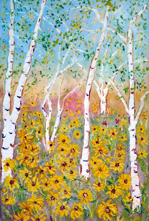 SILVER BIRCH WITH SUNFLOWERS