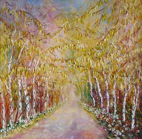 """SILVER BIRCH WITH CATKINS AND SNOWDROPS"""