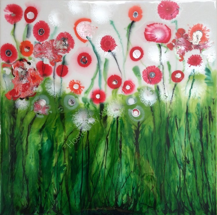 """Abstract Poppies ll - 16"""" x 16"""""""