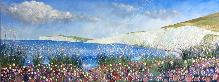 "Freshwater Bay, The Isle of Wight - 36"" x 14"" - PRINTS AVAILABLE"