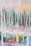 Winter Light with silver birch   oil
