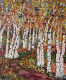 Silver Birch - Falling Leaves  oil