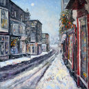 Winter in the Dales --Pateley Bridge.  oil on canvas