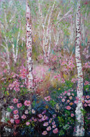 SILVER BIRCH WITH WILD ROSES -  OIL.