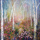 SILVER BIRCH ARCH WITH  WILD ROSES  - OIL
