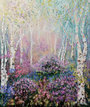 SILVER BIRCH WITH  BLUEBELLS AND RHODODENDRONS .