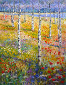 """""""SILVER BIRCH WITH FLOWERS"""" OIL"""