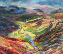 Looking out from Crinkle Crags  - oil