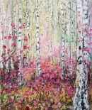 Silver Birch with Rhododendrons oil