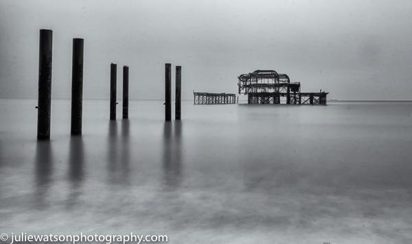 Brighton derelict pier with posts 0582
