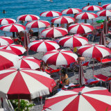 Red and white umbrellas on the beach - Amalfi