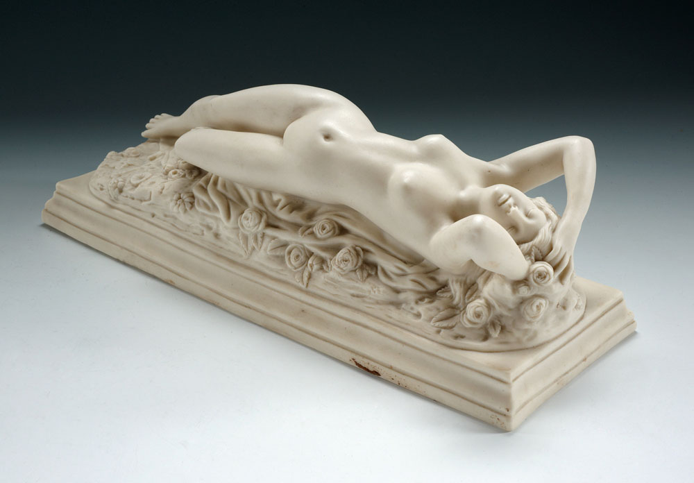 Reclining nude porcelain figure, estate of the late Dr Jamshed J Bhabha