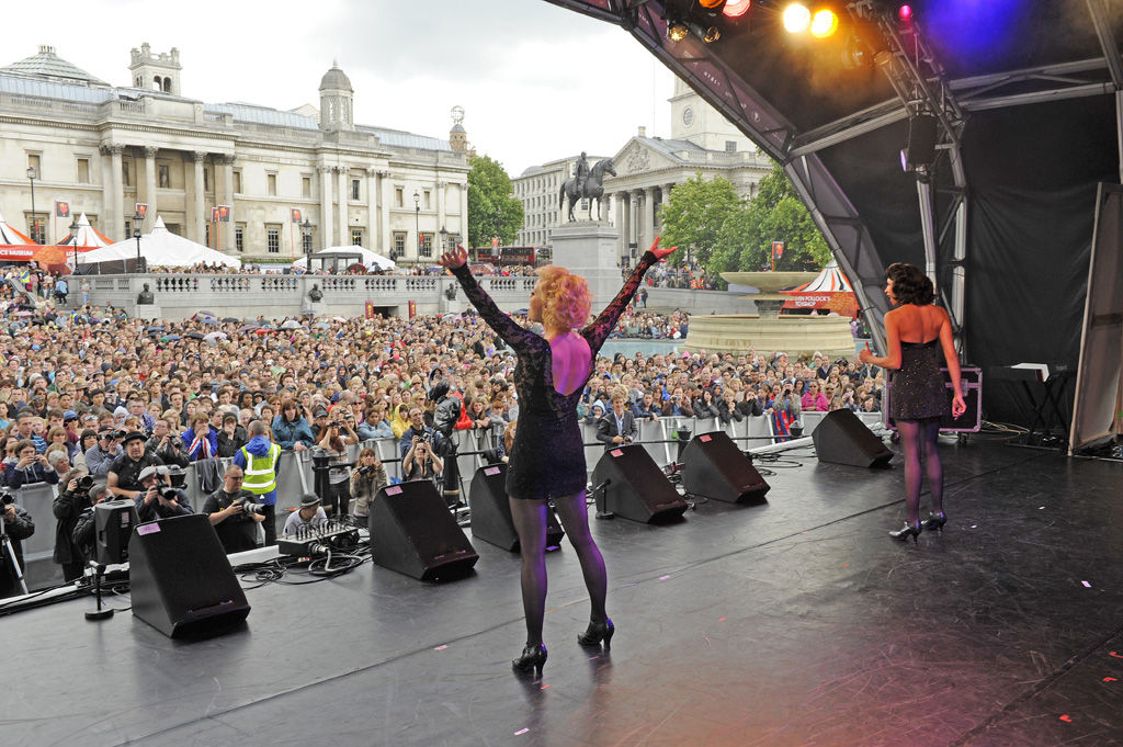 West End Live at Trafalgar Square. Onstage with cast of Chicago