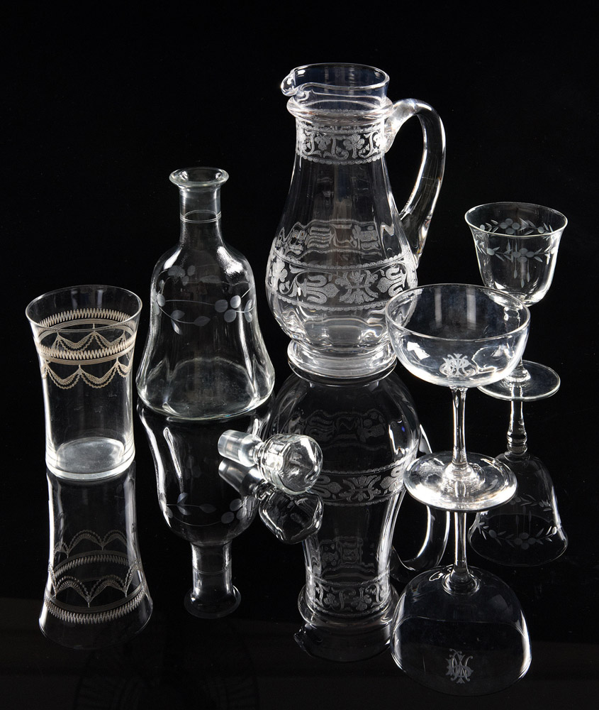 Etched Glassware, estate of the late Dr Jamshed J Bhabha