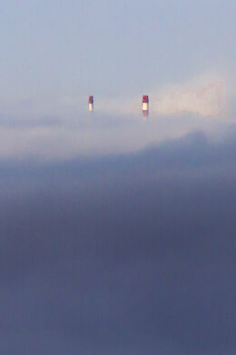Pigeon House chimneys in the mist