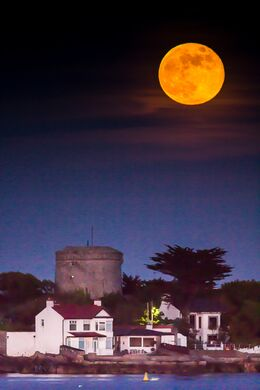 Full moon rising over Sandycove, Co. Dublin, Ireland