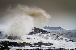 Big waves at the Forty Foot, Sandycove, Co. Dublin