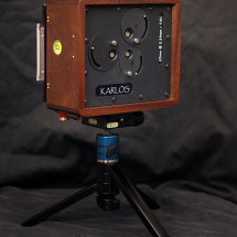 Karlos 89. 4x5 pinhole camera with three pinholes at 65mm focal length