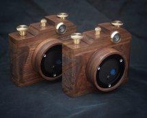 Karlos 159 Karlos 160, 6x6 pincams with 35mm focal length. Walnut