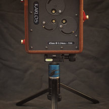 Karlos 87. 4x5 pinhole camera with three pinholes at 65mm focal length