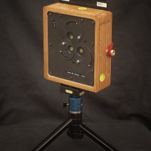 Karlos 97. 4x5 perspective pinhole camera with three pinholes at a focal length of 45mm