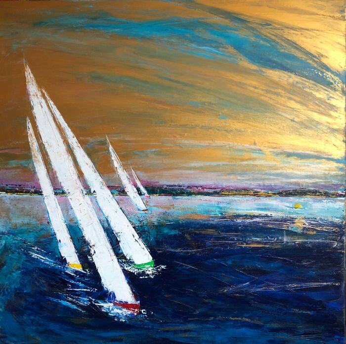 122 x 122 cm canvas.Racing Mermaids