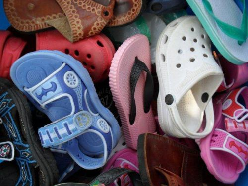 new and donated secondhand sandals and flip-flops