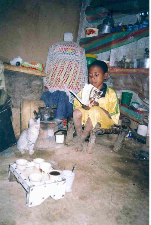boy reading Dusty - the Little Ethiopian Donkey donated by The Donkey Sanctuary