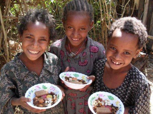 schoolgirls about to enjoy their snack