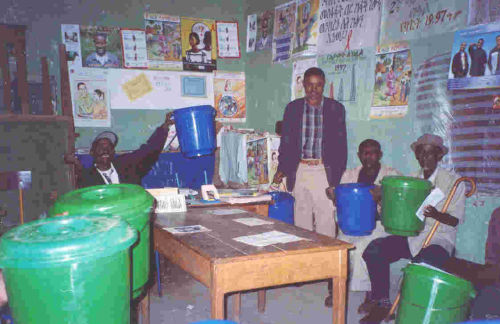 horse management training attendees receive plastic buckets