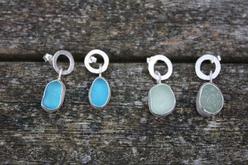 Sea Glass Drop Earrings on silver hoops