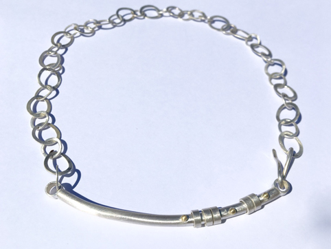 Silver Necklace with 5 Silver Rings and 18ct Gold