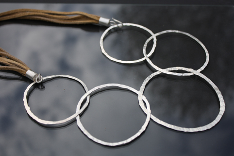 5 Ring Necklace on Leather