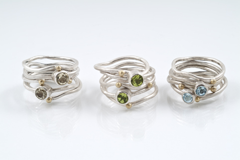 5 Ring Ripple Stack Rings with Stones