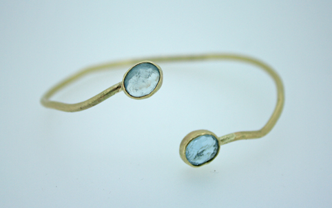 Ripple Wrap Bangle Gold and Aquamarine