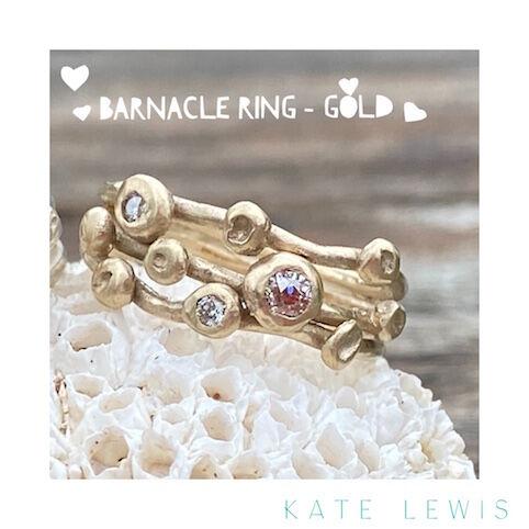 Diamond Set Barnacle Ring - Gold