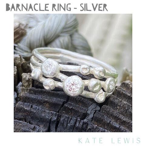Diamond Set Barnacle Ring - Silver