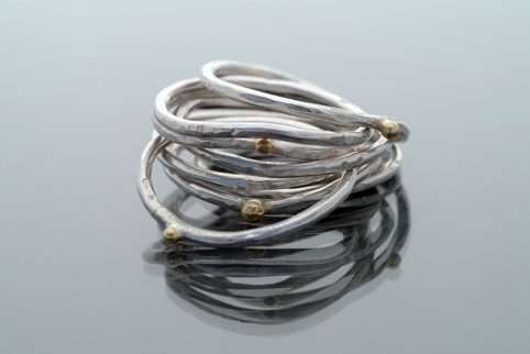 Ripple Stack Rings – Silver with 18ct Gold Detail
