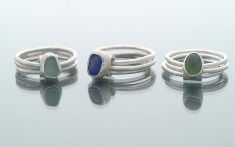 Sea Glass on Triple Silver Ring